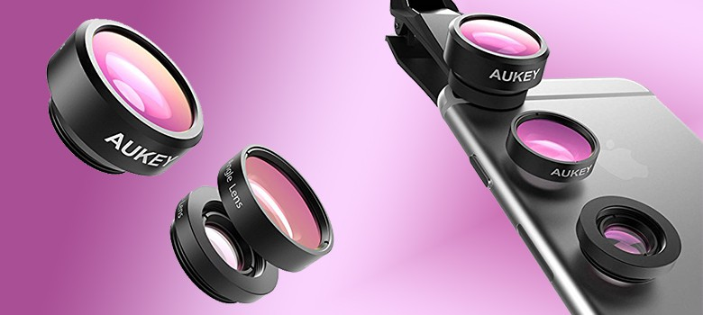 Aukey 3 In 1 Clip On Cell Phone Camera Lens