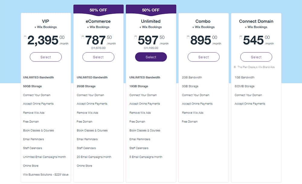 Pricing Plans On Wix For Premium Packages