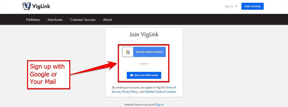 Sign Up On Vig Link With Google Or Your Mail
