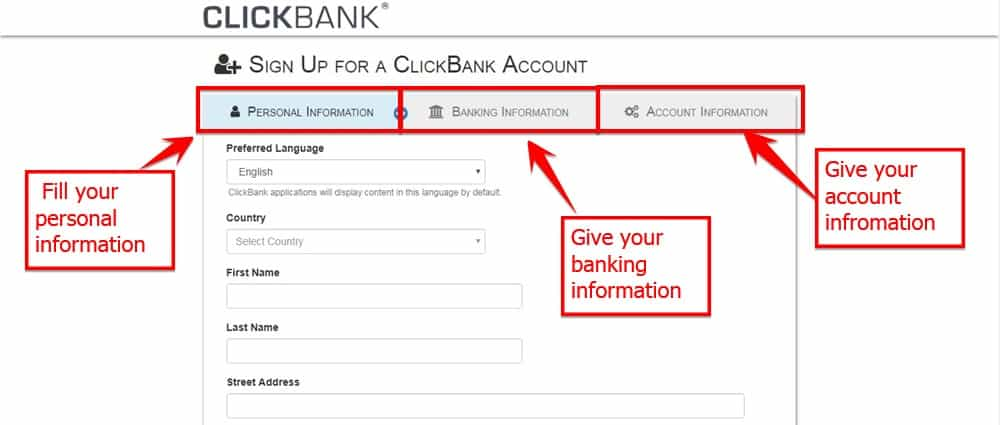 Create Click Bank Affiliate Account For Online Income